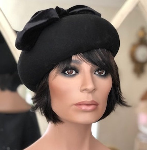 Women's Black Hat, Church Hat, Ladies Black Hat, Funeral Hat, Formal Hat, Cocktail Hat