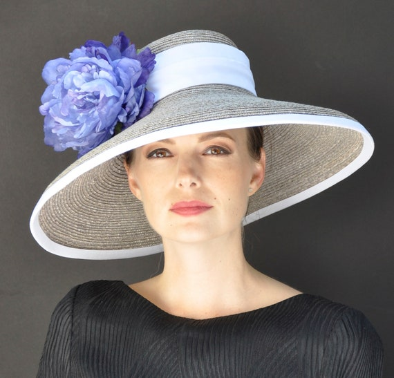 Kentucky Derby Hat, Formal Straw Hat, Women's Dressy Hat, Wedding Hat, Church Hat, Taupe Hat, Ladies Blue Hat, Special Occasion Hat