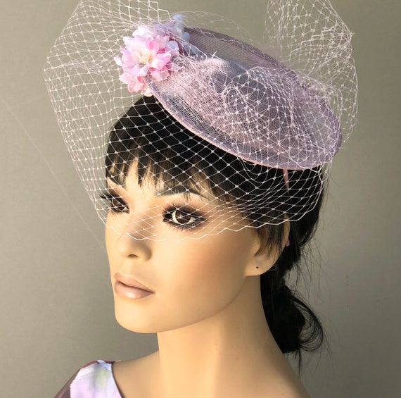 Women's Fascinator Hat, Wedding Hat, Kentucky Derby Hat, Ladies Pink Saucer Hat, Women's Pink Formal Hat, hat with veil