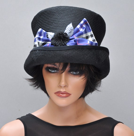 Ladies Black Hat, Top Hat, Mad Hatter, Formal Black Hat