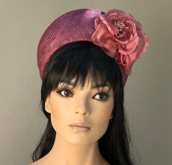 Women's Fascinator Hat, Wedding Hat, Cocktail Hat, Kate Middleton Hat, Wine Flower Crown, Duchess Hat, Ladies Formal Hat, Church Hat