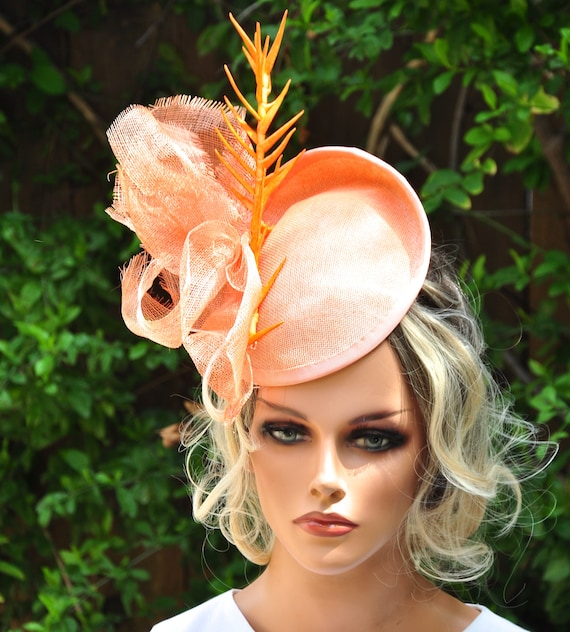 Kentucky Derby Hat, Wedding Hat, Ladies Coral Hat, Derby Hat, Special Occasion Hat, Royal Ascot Hat