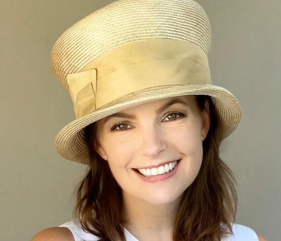 Women's Derby Hat, Ladies Yellow Straw Hat, Wedding Hat, Casual Hat, Boho Hat, Women's Summer Hat
