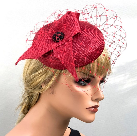 Kentucky Derby Hat, Wedding Hat, Ladies Red Formal Hat, Kate Middleton Hat, Women's Red Dressy Hat, Cocktail Hat, Duchess Kate Hat