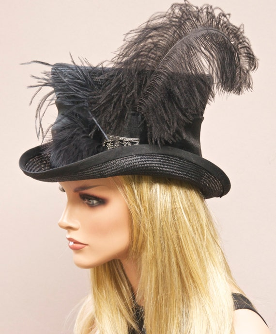 Black Hat, Formal Hat, Derby Hat, Ascot Hat, Black Top Hat Mad Hatter Steampunk hat, Downton Abbey Hat