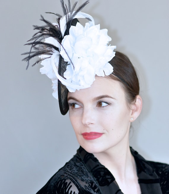 Kentucky Derby Hat, Black and White Fascinator Hat, Wedding Fascinator Hat, Ascot Hat, Formal Hat, Occasion Hat