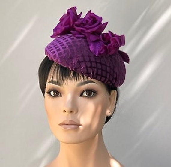 Women's Purple Velvet Hat, Ladies Formal Purple Hat, Kate Middleton Hat, Formal Winter Hat, Dressy Purple Pillbox Hat, Wedding Hat