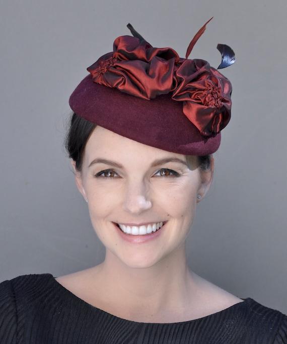 Kentucky Derby Hat, Burgundy Fascinator, Wedding Hat, Wedding Fascinator, Ladies Wine Hat, Ascot Hat, Formal Burgundy Hat, Occasion hat