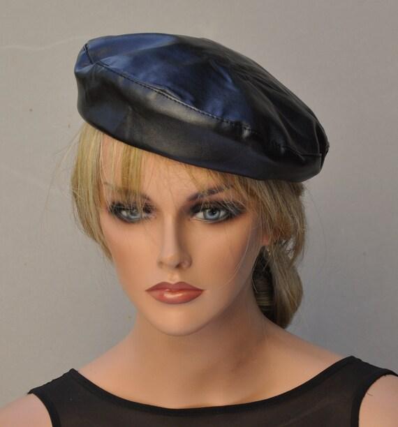 Leather Beret, Black Beret, French Beret, Black Winter Hat, Men's Leather Beret, Casual Hat