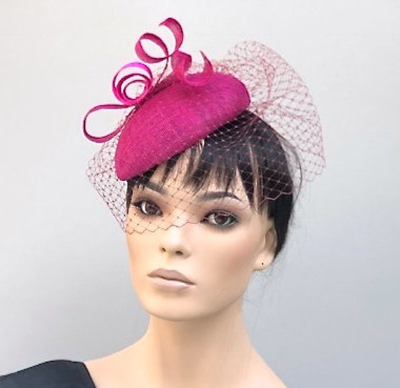 Fuchsia Pink Fascinator, Kentucky Derby Hat, Kate Middleton Hat, Royal Ascot Hat, Special Occasion Hat, Women's formal hat, Ladies pink hat