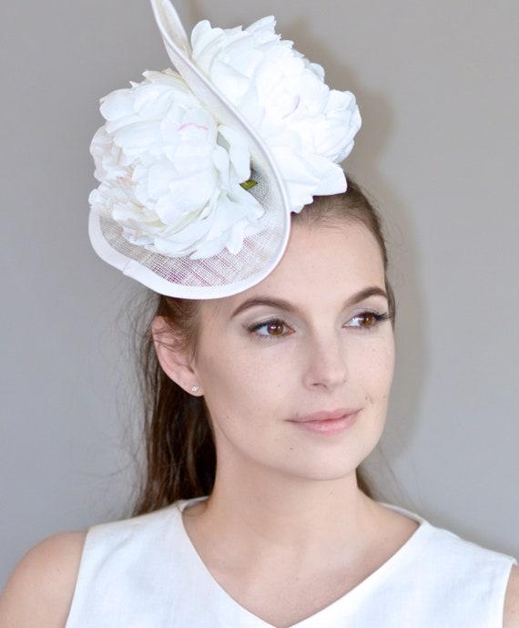 Kentucky Derby Hat, Ladies White Hat, Bridal Headpiece, Wedding Hat, Formal Hat, Derby Hat, Unique Hat, Ascot Hat