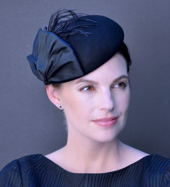 Navy Hat, Ladies Navy Hat, Navy Fascinator, Elegant Navy Fascinator Hat, Formal Hat, Occasion Hat