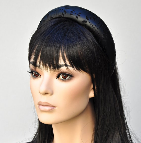 Leather Padded Headband. Cut Leather Hat, Women's Black Faux Leather Hat, Kate Middleton Hat, Headband Hat
