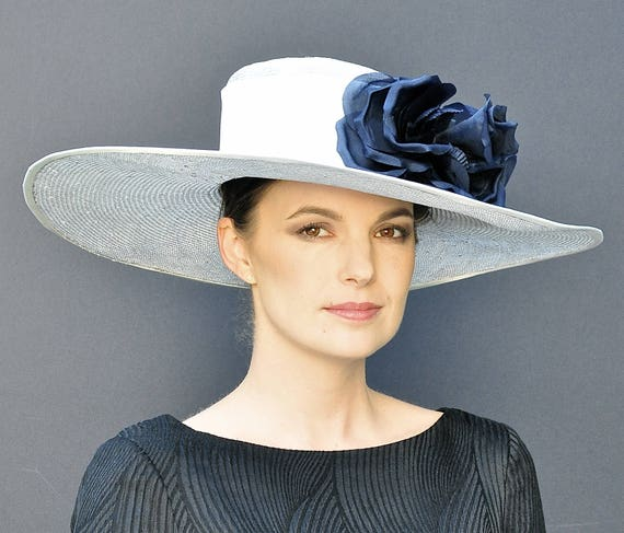Derby Hat, Wedding Hat, Wide Brim Hat, Elegant Hat, Women's Formal Hat, Ladies Dressy Hat, Occasion Hat, Gray hat, Navy hat