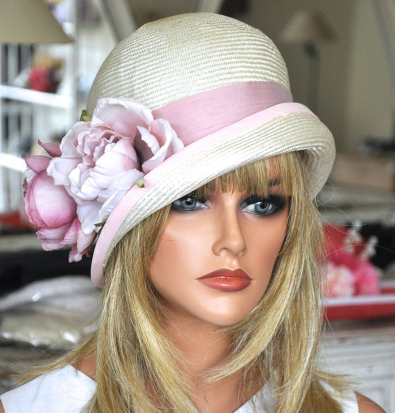 Pink and White Cloche Hat Wedding Hat Kentucky Derby Hat  ed43d65ee00