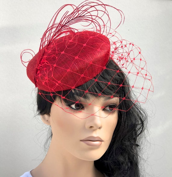 Women's Kentucky Derby Hat, Ladies Red Pillbox Hat, Red Cocktail Hat, Red Hat Society, Formal Red Hat, Wedding Hat, Special Occasion Hat