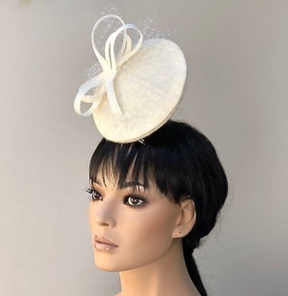 Kentucky Derby Hat, Royal Ascot Hat, Women's Fascinator Hat, Unique Hat, Cream Disc Hat, Cream Fascinator Hat