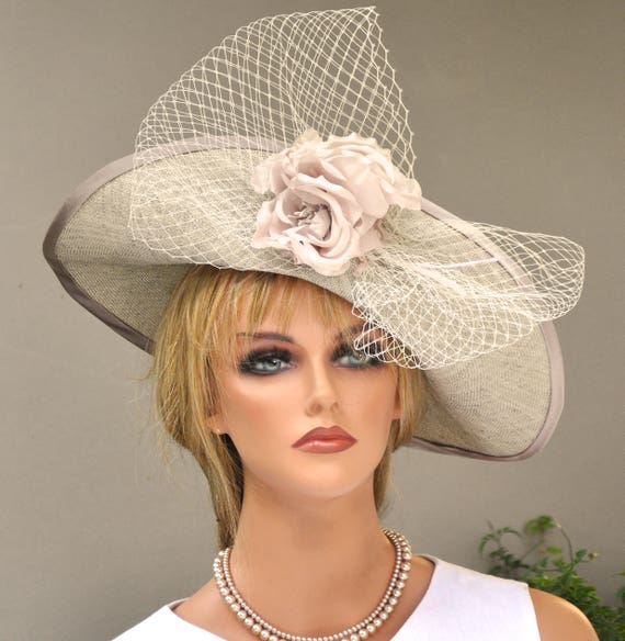 Kentucky Derby Hat, Fascinator Hat, Ascot Hat, Wedding Hat, Formal Hat, Ladies Taupe hat, Occasion Hat