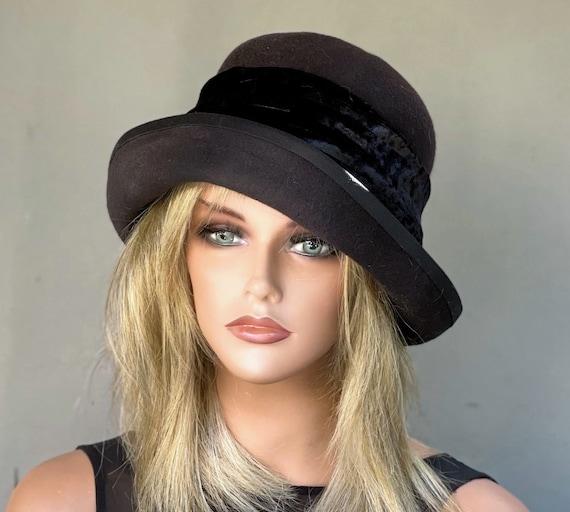 Women's Black Winter Hat, Black Felt Cloche Hat, Ladies Black Formal Hat, 1920s 1930s Women's Hat, Boho Hat