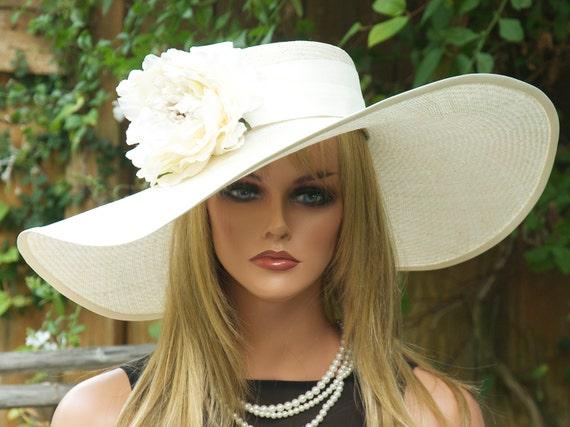 Kentucky Derby Hat, Wedding Hat, Cream Wide Brim Hat, Church Hat, Women's Derby Hat, Ascot Hat, Ladies Formal Hat, Occasion Hat