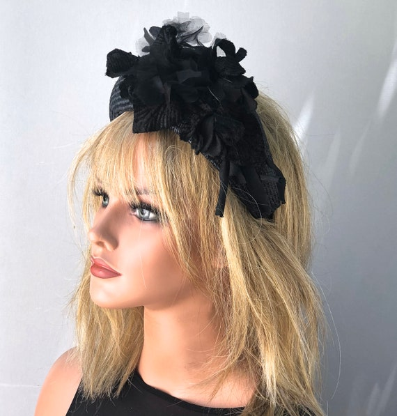 Women's Black Hat, Kate Middleton Headband Hat, Flower Crown Hat, Wedding Hat, Funeral Hat, Derby Hat
