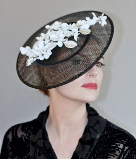 Kentucky Derby Hat, Ladies Black and White Hat, Saucer Hat, Royal Ascot Hat, Fascinator Hat, Formal Hat, Hatinator, Percher Hat
