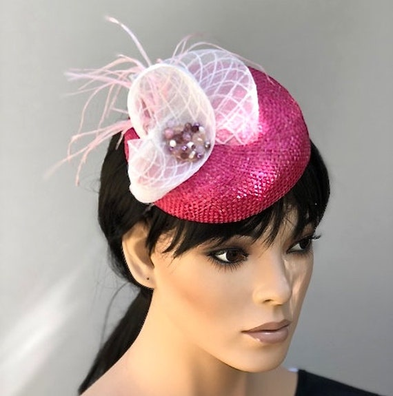 Ladies Pink Hat, Women's Formal Pink Hat, Pink Fascinator Hat, Kate Middleton Hat, Wedding Fascinator HatPillbox Hat