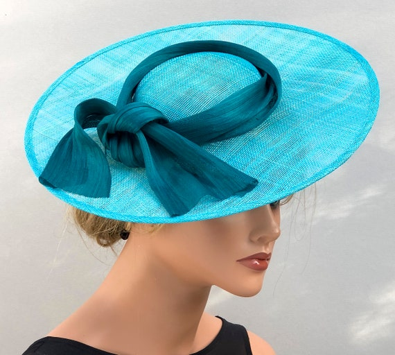Kentucky Derby Hat, Wedding Hat, Turquoise Saucer Hat, Women's Formal Hat, Ladies Peacock Blue Hat, Special Occasion Hat, Ascot Hat