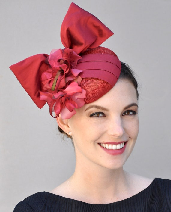 Fascinator Hat, Red Fascinator, Wedding Hat, Wedding Fascinator, Derby Fascinator, Ascot Fascinator hat