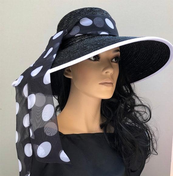 Kentucky Derby Hat, Audrey Hepburn Hat, Wedding Hat, Ladies Black and White Hat Wide Brim Hat Special Occasion Hat Women's Formal Ascot Hat
