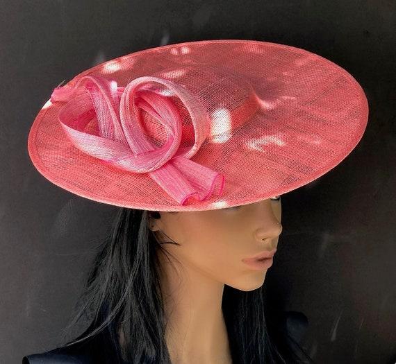 Kentucky Derby Hat, Wedding Hat, Women's Coral Wide Brim Hat, Ladies Coral Orange & Pink Hat, Saucer Hat, Royal Ascot Hat, Duchess Kate Hat