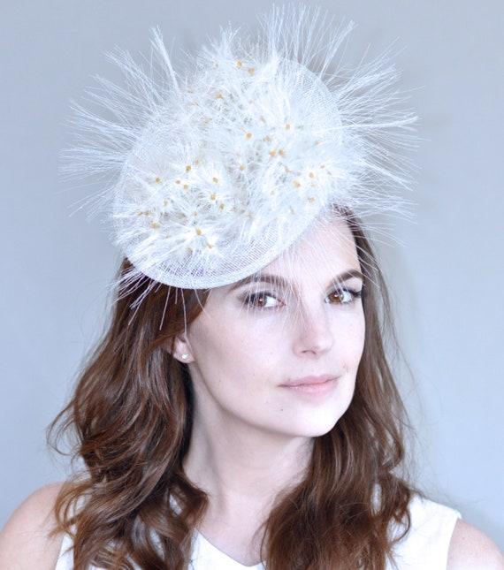 Wedding Hat, Bridal Headpiece, Bridal Fascinator, Kentucky Derby Hat, Ascot Hat, Dandelion Fascinator Hat, Special Occasion Hat