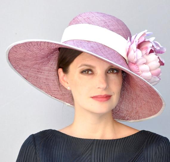 Wedding Hat, Wide Brim Hat, Church Hat, Derby Hat, Formal hat, Garden Party Hat, Tea Party Hat, Women's Rose Straw Hat