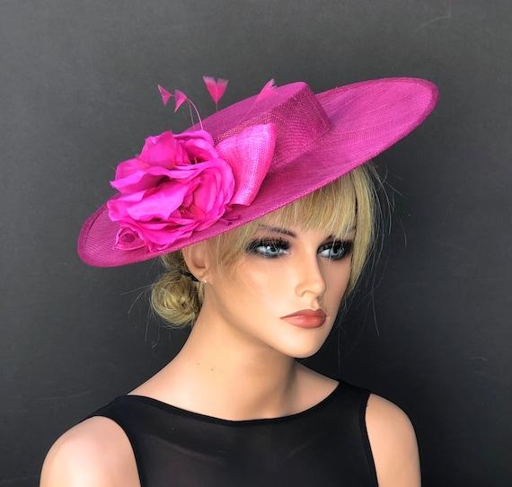 Women's Derby Hat, Women's Fuchsia Pink Hat, Wedding Hat, Women's Boater Hat, Women's Fascinator Hat, Ladies's Pink Saucer Hat