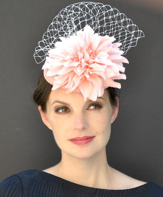 Kentucky Derby Hat, Wedding Hat, Fascinator Hat, Pillbox Hat, Formal Peach Hat, Coral Fascinator, Derby Hat