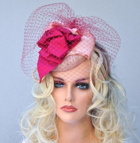 Wedding Hat, Fascinator Hat, Cocktail Hat & Veil, Ladies Hat with Veil, Percher