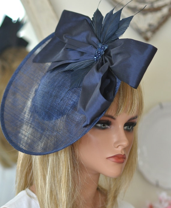 Kentucky Derby Hat, Ladies Navy Hat, Women's Navy Hat, Royal Ascot Hat, Formal Hat, Occasion Hat, Saucer Hat