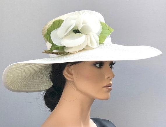 Kentucky Derby Hat, Wedding Hat, Royal Ascot Hat, Women's Formal Hat, Ladies Cream Ivory Hat, Wide Brim Hat