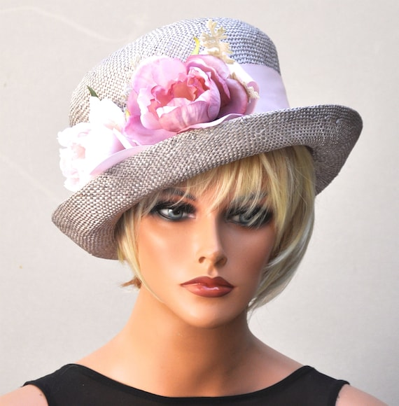Downton Abbey hat, Wedding Hat, Derby Hat, Miss Fisher Hat, Tea Party Hat, Taupe Hat, Ladies Pink hat