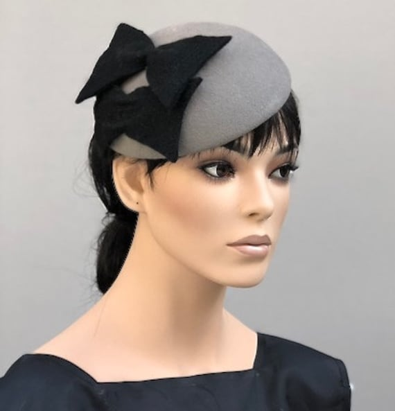 Women's Gray Winter Hat, Gray Winter Fascinator, Ladies Gray Felt Fascinator Hat, Kate Middleton hat, Meghan Markle hat, Formal Winter Hat