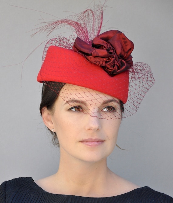 Ladies Formal Red Hat, Kentucky Derby Hat, Formal Hat, Red Fascinator Hat, Elegant Winter Hat