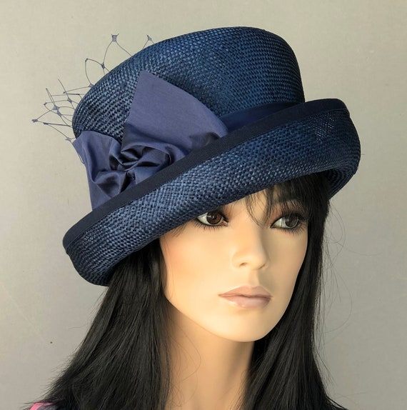 Women's Navy Formal Hat, Wedding Hat, Ladies formal Navy Hat, Kentucky Derby Hat, Royal Ascot Hat