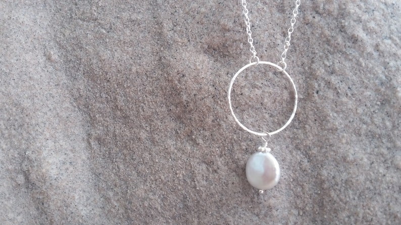 Simple Sterling Silver and Coin Pearl Necklace