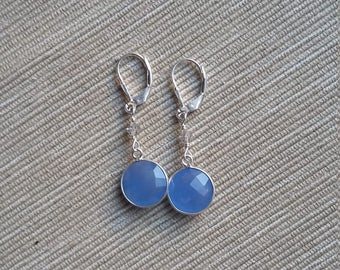 Blue Chalcenony and Swarovski Crystal Sterling Silver Drop Earrings