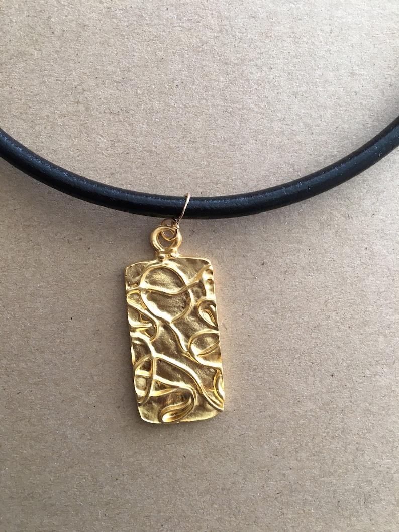 Rectangle Modern Matt Gold Contemporary Pendant Black Leather Necklace
