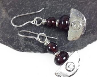 handmade silver and  garnet earrings Ulu