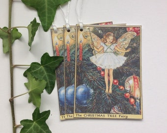 GIFT TAGS  , ( pack of 3 ). Christmas .Flower Fairies .Vintage-style . Christmas Tree Fairy ....UK seller...ready to ship..