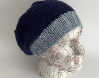 SLOUCH HAT / beanie hat . 'The Villager'  . Unisex. A super-soft Alpaca / Merino wool blend. Blues.. .UK seller...ready to ship ...