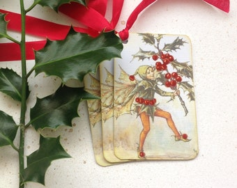 GIFT TAGS  , ( pack of 3 ). Christmas . Winter .Flower Fairies .Vintage-style . Holly Fairy ....UK seller...ready to ship..
