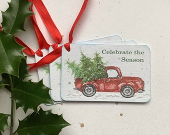 CHRISTMAS / GIFT tags ( pack of 3 ). Vintage -style. Red truck . Christmas tree. Celebrate the Season. ...UK seller... ready to ship